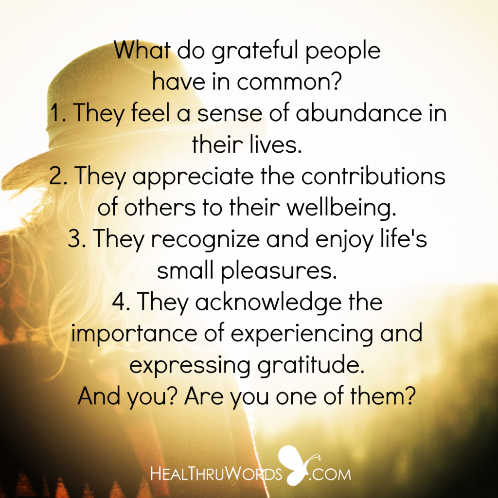 Inspirational Quote - Traits of Grateful People
